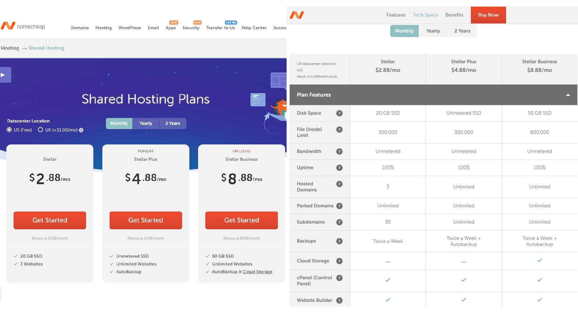 namecheap shared hosting