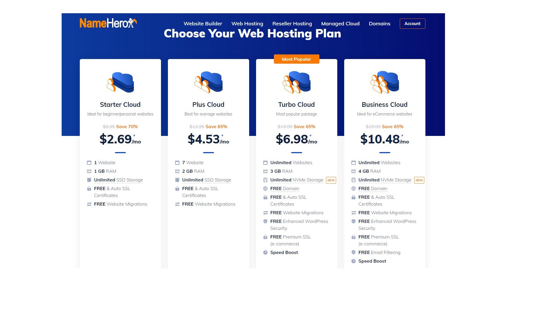 namehero shared wordpress hosting